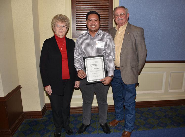 Grady and Barbara Coburn Present Master Scholarship Award to James Villega