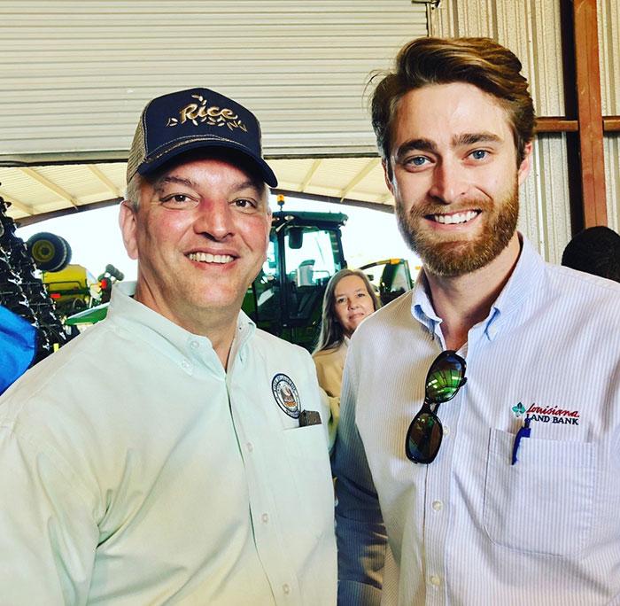 Jacob Nugier with Louisiana Governor John Bel Edwards